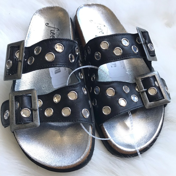 NEW Free People Bali footbed sandals slides black NWT